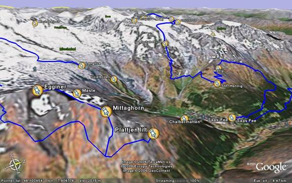 Routes from Saas Fee